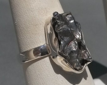 Custom 925 Sterling Silver Meteor Tektite Freeform RING Talisman Amulet Meteorite Metallic Grey Textured Mineral Jewelry gift size 8.5