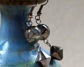 Agate Drop Earrings Gray Geometric Bi-cone Hematite Dangle Translucent Beads Fashion Jewelry Paisley Beading FREE Shipping