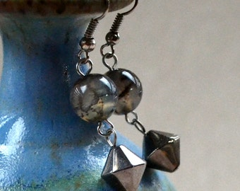 SALE Agate Drop Earrings Gray Geometric Bi-cone Hematite Dangle Translucent Beads Fashion Jewelry Paisley Beading FREE Shipping