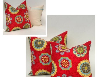 """SALE! SET Of TWO Red Suzani Print Pillows, Red & Multi Color With Fun Accent Zipper 20"""" x 20"""" And 18"""" x 18"""" 50% Off!"""