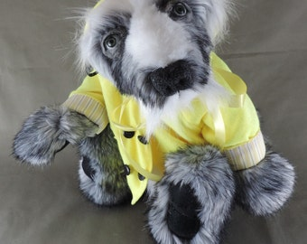 """Badger, OOAK Artist Bear Friend, """"Fisherman"""", faux chinchilla tissavel fur, fully jointed, felted face detail"""