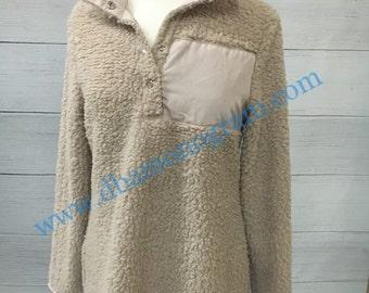 Monogram Sherpa Pullover, Fleece Sherpa Pullover, Monogrammed Pullover -BEIGE ADULT & CHILD