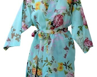 Turquoise Bridesmaids Robe Kimono Crossover Robe Bridesmaids gifts Getting ready robes Bridal Party Robes Floral Robes Dressing Gown
