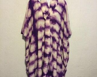 Vintage Purple & White Tie Dye Caftan Dress and Belt