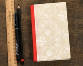 """Hardcover Notebook Hand Made Book """"White Flowers"""""""