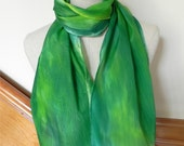 Long hand painted silk scarf in shades of green Ready to ship Crepe silk scarf #498 Gifts for her Gifts under 35