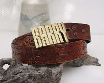 Vintage Brass Barry Belt 70s Hand Tooled Leather and Brass