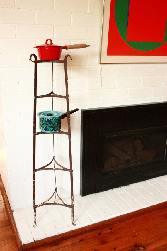 Vintage Wrought Iron Tiered Pot Plant Stand