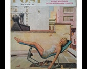 City Roof Sunbather.  Post Cover Illustration.  NYC Beauty Gal Swimsuit Sunbathing.   Fun Whimsical Living. Ready for Framing.