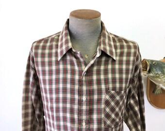 1970s Sears Sportswear Men's Brown Plaid Shirt Vintage Cotton & Polyester Long Sleeve Shirt - Size XL