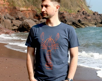 100% Organic Mens  T-shirt hand screen printed with eco-friendly inks. Featuring 'Larry the Lobster'