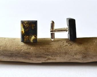 Amber Cufflinks \ Gift for Men \ Black Gold Baltic Amber Cufflinks / Amber for men