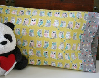Organic Toddler Pillowcase, Travel Pillowcase, Owls, Pillowcase, Organic, Toadstools, Anya, Hedgehogs