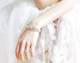 Swarovski Crystal Bridal Bracelet, 3 Stone Crystal Bracelet, Diamante Bridal Bracelet, Bridal Cuff, Bridal Statement Bracelet