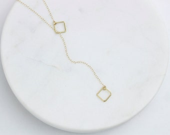 Dainty Lariat Necklace/Long Gold Lariat/Layering Lariat/Long Silver Lariat/Minimal Necklace/Delicate Necklace/Long Necklace/Gift For Women