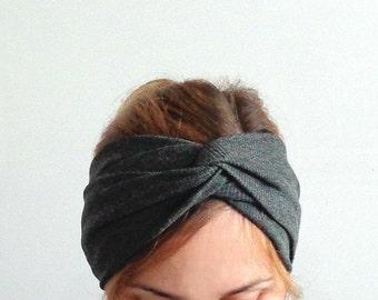 Dark gray turban twist headband head wrap with twisted center for womens head wear stirnband kopf wickeln fashion hair accessory