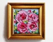 Pink Rose Small Art Original Mini Oil Painting FRAMED Art Flower Floral Textured Impasto Palette Knife Kitchen Desk Office Gift for Her 4x4
