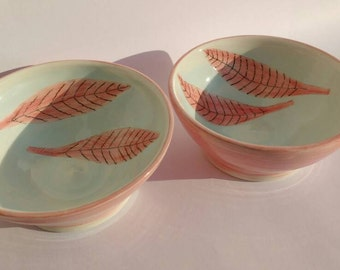 Small Pottery Wheel Thrown Bowls Pair of Hand Painted Pottery Bowls With Small Pink Leaves UK
