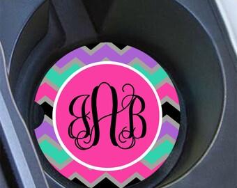 Monogram gift, Chevron monogram car coaster, Personalised car accessory, Preppy cup holder coaster for girls, Purple aqua black (1069)