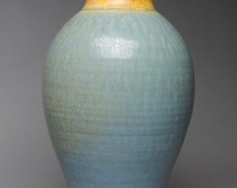 Stoneware Vase Blue and Yellow  D71