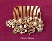 gold & pearl hair comb, gold bridal hair comb, pearl wedding hair piece, gold wedding comb, vintage style bridal comb, gold hair piece
