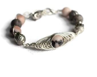 Buddha Bracelet - Zebra Jasper Bracelet - Spiritual Gift Ideas -  Buddha Jewellery - Birthday Gift Ideas - Pink and Grey Gemstone  Bracelet