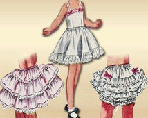 Simplicity 3296 1950s Sewing Pattern Girls Lingerie Size 4 Slip Petticoat and Panties