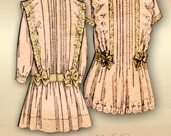 1900s McCall 4216 Girls Dress Pattern Rare Edwardian Turn of the Century Heirloom Dress with Pintucks and Lace Insertion Size 2