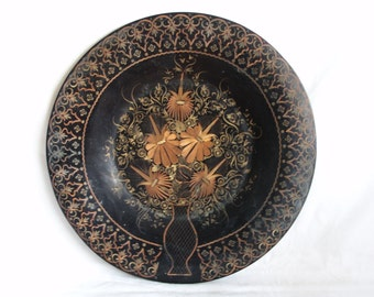 Earthy blossom, flower bouquet etched 13'' vintage copper round decorative plate, dark finish, floral etching, Anatolian, folk art, bloom