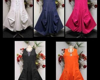 Lagenlook Dress, Cotton Flax Dress,  Quirky Dress, Parachute Dress, Plus Size Clothing, Plus Size Dress, medium to 2XL