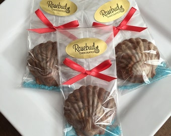 12 Chocolate Seashell & Sugar Favors Beach Nautical Luau Wedding Birthday Party Candy Sea Shells