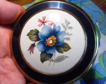 Beautiful Floral Enamel Vintage Powder Compact Made in Great Britain Unused
