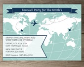 World Map Going Away Party Invitations / Goodbye Party Invites / Moving Announcements - DIY Printable / custom / chevron