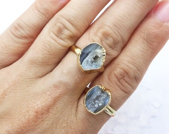 Agate Geode Ring, Petite Geode Ring, Stackable Ring