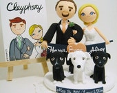 Cute couple with the banner and 3 dogs custom wedding cake topper.