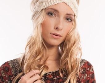 Hand knit Turban Headband Ear Warmer Winter Headband Boho Headband Gift for women Cable Knit headwrap Cute Accessory Womens gift Merino wool