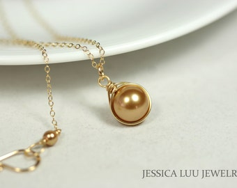Gold Pearl Necklace Wire Wrapped Jewelry Gold Necklace Swarovski Pearl Solitaire Necklace Gold Jewelry Bridal Pearl Necklace Bridal Jewelry