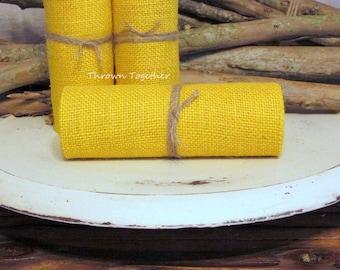 "Yellow Burlap, Sunflower Yellow Burlap Ribbon, 6"" Wide Burlap Ribbon, Craft Supply, Primitive Burlap Garland 3 yds"
