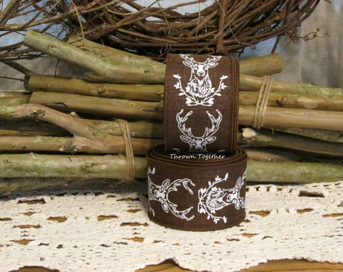 "Brown & White Wired Deer Ribbon, Hunting Ribbon, Primitive Rustic Fall Ribbon, 5YDS Wired Ribbon, 2.5"" wide Craft Ribbon, Brown Ribbon"