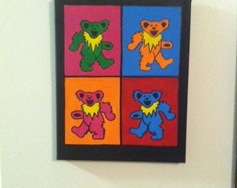 "Handpainted Grateful Dead Bears Painting 8"" x 10"""