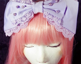 Purple Lolita Bow lavender sweet cute kawaii fashion lace trim large