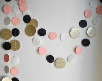 Gold glitter blossom pink garland, black ivory circle paper decor, pink baby shower decor, nursery decor, girl birthday party garland
