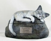 Ceramic Engraved Painted Siamese Cat Cremation Urn with Plastic Name Plate- hand made pet urn