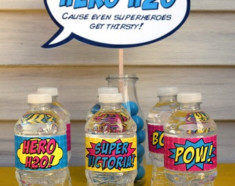 """Superhero Water Bottle Labels • Personalized • 2""""• PRINTED"""