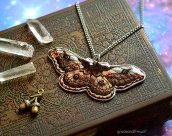 """SALE IllustratedNecklace""""Moth"""" by Grace and the Wolf,shrink plastic, resin and stainless steel, chain 50cm/20 inches long, original drawing."""
