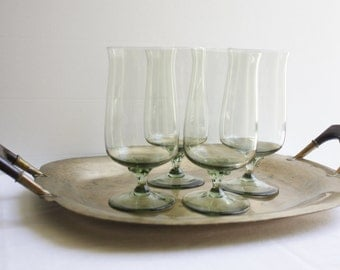Lenox Green Mist Expressions Glass Tea Glasses Goblets CHRISTMAS Crystal Stemware Glassware