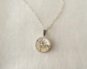 Little Bird's Nest  - Wearable Artwork Necklace - Original Watercolor Painting - One of a Kind - Sterling Silver