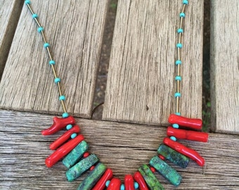 Turquoise necklace, Coral necklace, Tropical necklace, Boho fashion, Turquoise and Coral, Southwestern necklace, red and turquoise necklace