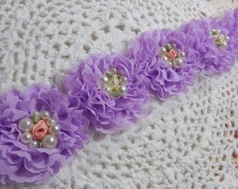 """6 Lavender Shabby Chic Pearl and Flower Rosettes 2.5"""""""