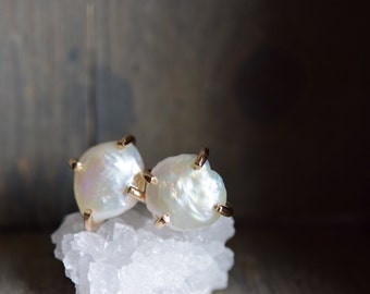 Freshwater Pearl Gold Fill Studs. Natural Pearl Prong Earrings. June Birthstone. Raw Pearl Claw Stud. June Earrings. Bridal Studs White Gold